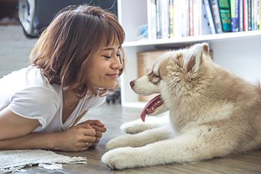 A dog owner smiling at her dog