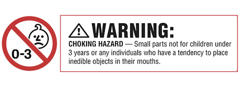 Warning labels on children's toys protect against product liability claims.