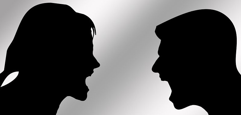 Shadows Arguing- Assault is a conflict between two people with unprovoked violence. Canadian Law Assault