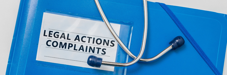 A folder titled Legal Action Complaints. Medical malpractice claims in Ontario. Contact Conte and Associates, personal injury lawyers in Whitby and Vaughan.