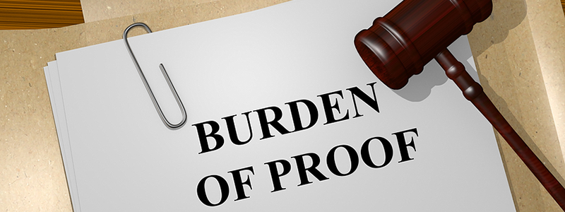Burden of proof document with gavel